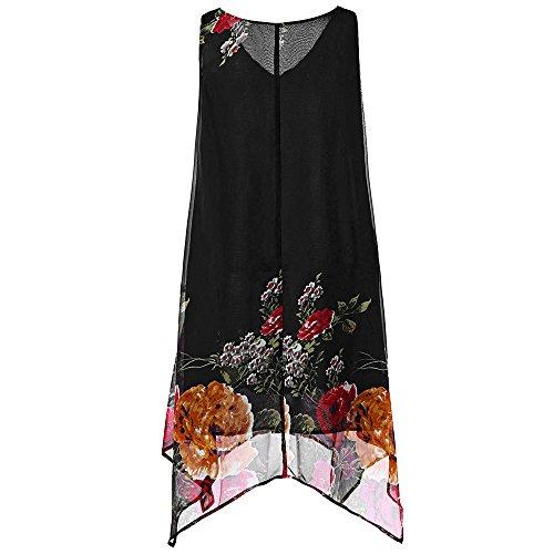 CAOQAO Elegant Damen Ballkleid Hochzeitskleid Festlich Dressurgerte Plus Size Blumendruck Chiffon äRmelloses Minikleid Mit UnregelmäßIgem Saum