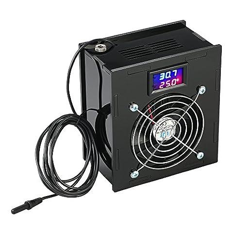 kkmoon Ventilateur DC 12V 70W Thermostat digital avec régulateur de température, acrylique Matériau affichage de la température avec affichage LED 3chiffres pour Aquarium eau douce eau de mer à faible PH Noir