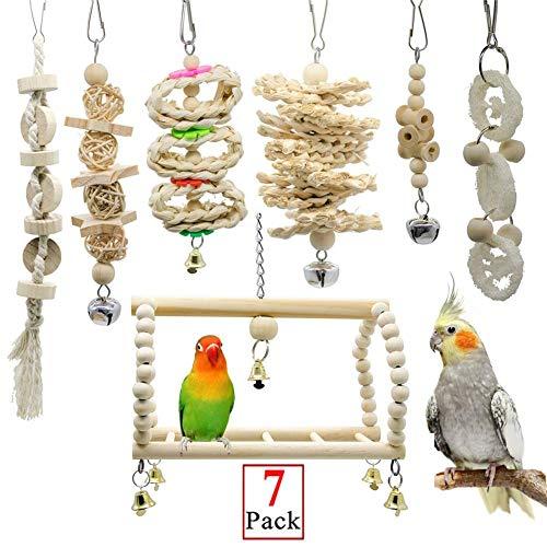 JGHH Vogel Spielzeug 7-teiliges Parrot Toy Bell-Haustier-Vogelkäfig Hammock Schaukel Klettern Leiter Spielzeug aus Holz Squid Spiegel Chew Spielzeug für Kleintiere