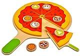 Idena 4100115 - Kleine Küchenmeister Pizza - Set inklusive Pizzaschieber aus Holz, ca. 28 x 28 x 3 cm, 18-teilig