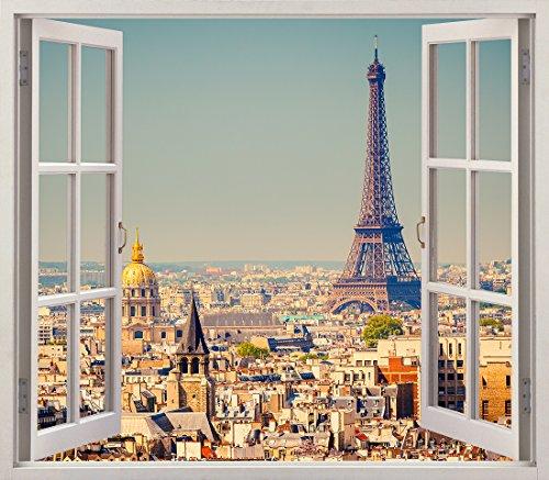 Aufkleber 3D Vinyl Fenster Verschiedene Maße 50 x 40 cm Aufkleber inbegriffen für die Dekoration des Zimmers Paris, Eiffelturm Sichtpanoramische Sicht bunt ♠ Elegantes Design (Paris-fenster-aufkleber)