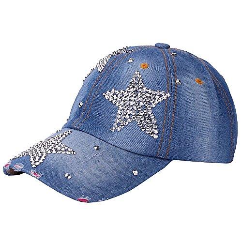 JUTOO Frauen Männer einstellbar Pentagram Strass Denim Baseball Mesh Cap Hut (Schwarz Und Kangol-hüte Rot)