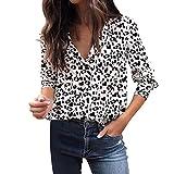 VJGOAL Mujer otoño Casual Moda Leopardo impresión Blusa de Manga Larga botón Solapa...