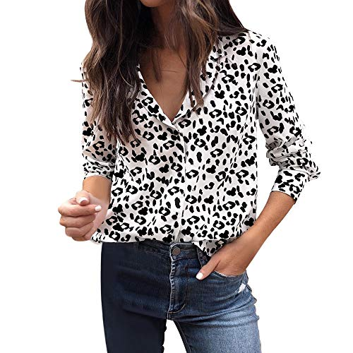 VJGOAL Mujeres otoño Casual Moda Leopardo impresión Blusa de Manga Larga botón Solapa Pullover Tops Camisa(L,Blanco)