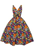 Ladies Daisy Print Floral 50s Rockabilly Retro Vintage Swing Pin Up Summer Party Dress