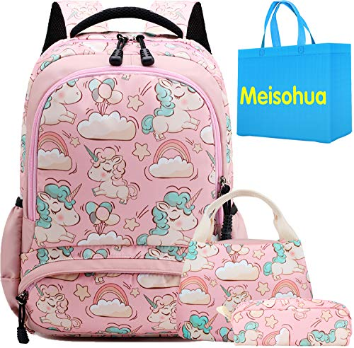 Unicorno zaino scuola elementare impermeabile zaini bambino sacchetti di scuola per ragazze leggero campeggio borse casual daypacks per adolescenti studenti 3 pezzi rosa
