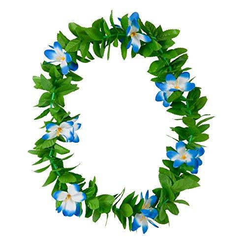 Hawaiian Green Leaf Lei Blue Flower Garland Fancy Dress Accessory Summer Beach Party