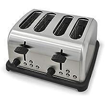 Klarstein Tostador dieseño moderno para 4 rebanadas (1650w de potencia, función bagel, descongelado, recalentar, acero inoxidable) - Plateado