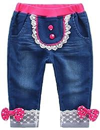 Jeans Bébé Filles avec Nœud Papillon Enfant Denim Pantalon doux Taille elastique rose bleu Rose Rouge