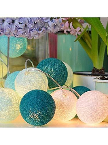 Cadena de Luces, Heligen 2M 20 LEDS Luces para Algodón Bola Decoración LED Blanco Cálido Guirnalda Luminosa Pilas Bola Bola Luz Hada Noche Luz para Las Fiestas Jardines Casas Bodas Fiesta (A)