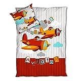 Aviator / Planes - SoulBedroom 100% Baumwolle Bettwäsche (Bettbezug 135x200 cm & Kissenbezug 80x80 cm)