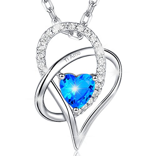 Marenja-regali festa della mamma collana donna placcato oro bianco-pendente cuore di oceano blu incisione ti amo-gioielli originali con cristalli