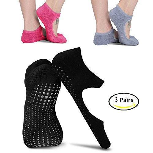 moreFit Yoga Socken,3 Pairs Rutschfeste Pilates Socken Bunt for Herren/Damen Dance Barre,Schwarz,Rosa,Grau