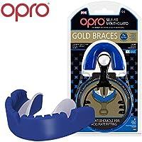 Ortodontico Paradenti OPRO Self-Fit GEN3 Gold braces - Paradenti da Apparecchio Ortodontico per Basket, Rugby, Hockey, MMA, Boxe, Lacrosse, Football Americano - Progettato e realizzato in UK (Blu)