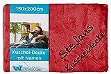 Wolimbo Wohndecke Kuscheldecke mit Namen bestickt Farbe: rot Größe: 200x150cm Microfaser Flauschdecke