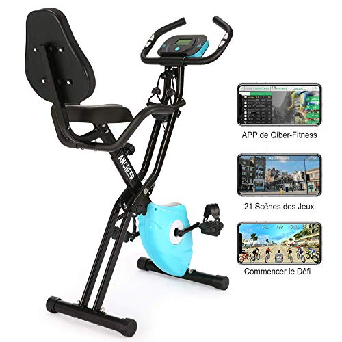 Profun Vélo d'Appartement Pliable avec Jeu de Simulation APP &10 Niveaux de Resistance magnétique,...