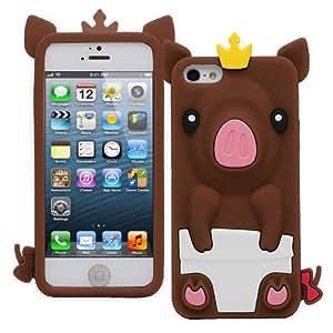 iXium Coque en silicone 3D Forme de cochon princesse avec couronne pour iPhone 5C marron