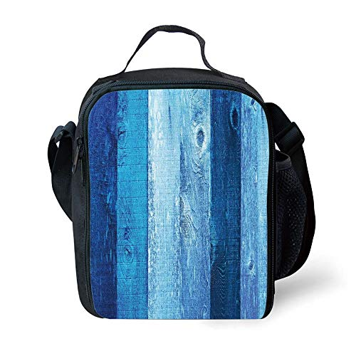 ZKHTO School Supplies Navy Blue Decor,Distressed Vintage Graphic of Wood in Robins Egg Old Grunge Grain Texture Retro Home,Dark Blue for Girls or Boys Washable