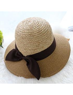 LVLIDAN Sombrero para el sol del verano Lady Anti-Sol Playa hat sombrero de paja caqui