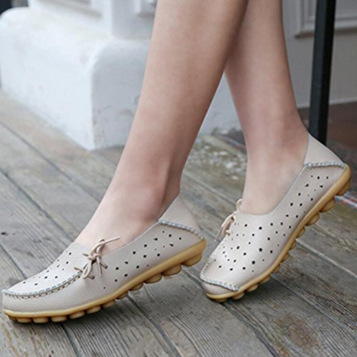 Vogstyle Femme New Shoes Chaussures À Lacets Casual Comfort Slippers Beige Mocassins