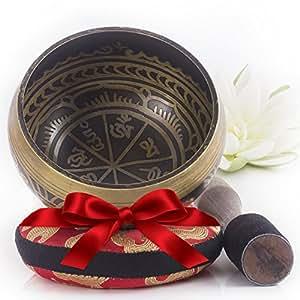 Campana Tibetana - Design Antico - Completa di Cuscino Himalayano e Percussore - Ottima Idea Regalo - Realizzato in Nepal