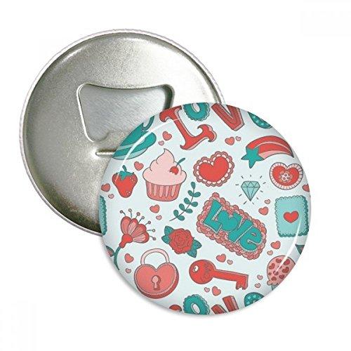 DIYthinker Valentinstag-Liebes-Erdbeere Herz Runde Flaschenöffner Kühlschrank Magnet Pins Abzeichen-Knopf-Geschenk 3pcs Silber (Erdbeer-kühlschrank-magnete)
