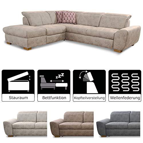 Leder Sitzgarnitur Sofa (Cavadore Ecksofa Bules mit Bett / Großes Schlafsofa mit praktischem Stauraum / Inkl. verstellbarer Kopfteile / Modernes Design)
