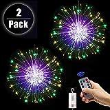 2 Stücke Feuerwerk Lichterketten Starburst Lichter 120 LED Lichterkette Kupferdraht Feuerwerk Lichter mit Fernbedienung 8 Modi der Lumineszenz Wasserdicht Haus Garten 2PCS