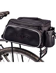Bolsa para bici de BTR diseñada para el portaequipajes trasero de la bicicleta. Impermeable. Negra. Capacidad de 10 litros. Soporte para acoplar de forma segura la luz trasera de la bicicleta.