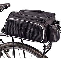 BTR Bolsa para Bici diseñada para el portaequipajes Trasero de la Bicicleta. Impermeable. Negra. Capacidad de 10 litros. Soporte para acoplar de Forma Segura la luz Trasera de la Bicicleta.