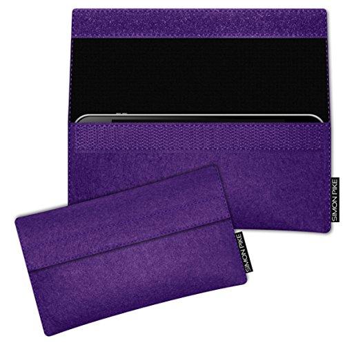 SIMON PIKE LG K10 Filztasche Case Hülle NewYork in lila 1, passgenau maßgefertigte Filz Schutzhülle aus echtem Natur Wollfilz, dünne Tasche im schlanken Slim Fit Design für das K10