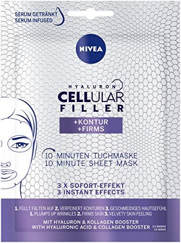 NIVEA Hyaluron Cellular Filler + Kontur 10 Minuten Tuchmaske im 3er Pack (3 x 1 Stück), Gesichtsmaske mit Anti-Falten Wirkung, verfeinernde Gesichtspflege