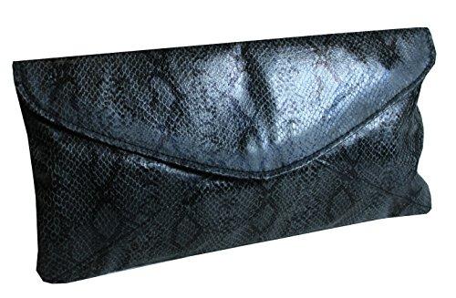 Medussa - stylischer LongFormat Python-Look Clutch Abendtasche mit abnehmbarer Kette Abendmode Party Schlangen-Look 19x14x5 cm (B x H x T) (Abendmode Edel)