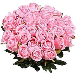 10 Stücke Künstliche Seidenrosen für die Vase, Gefälschte Rose Blumen für Hochzeit Home Geburtstag Party Garten Grab Dekorationen (Rosa)