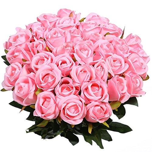 Veryhome rose artificiali, ideali per le decorazioni in vaso, i matrimoni, i compleanni, per il giardino o i defunti, in seta, colore rosso, confezione da 10 pezzi pink