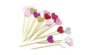PuTwo, Toppers de corazón hechos a mano, para Decoración de tartas, 21 Cuenta de 7 Colores rosas, Corazón Rosa