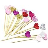 PuTwo 20cuenta 6colores Peach corazón para decoración de tartas fiesta suministros cupcake toppers–6colores