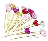 PuTwo 20Zählt 6Farben Pfirsich Herz Kuchen Dekoration Party Supplies Cupcake Topper–7Farben