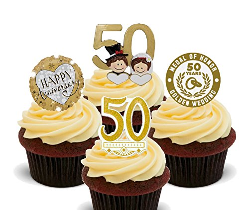 (Goldene Hochzeit 50. Jahrestag Essbare Cupcake Topper–Gold Stand-up Wafer Kuchen Dekorationen, 24er-Pack)