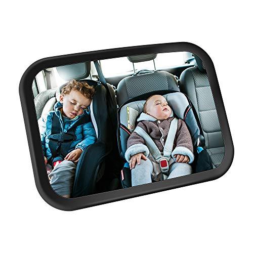 Jevogh GR22 Babyspiegel für Auto, Rücksitzspiegel mit Rücksitz, Weitwinkel, 360° drehbar, verstellbar, für Kleinkinder, einfach zu reinigen, kein Werkzeug erforderlich, Doppelte Gurte Sicherheit.