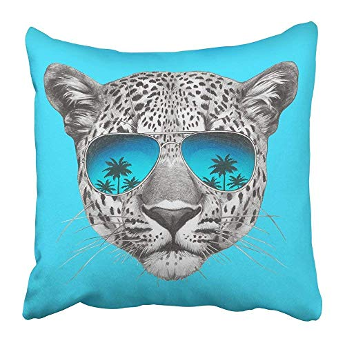 Kissenbezüge Carmen A Print Black Animal Original Drawing of Leopard with Mirror Sunglasses Colored White Face Glasses Tattoo Polyester 18 X 18 inch Square Hidden Zipper Decorative Pillowcase