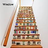 LUSTAR 13 Teile/Satz 3D Selbstklebende Fenster Treppenwandaufkleber Kreative Dekorative Decals DIY Kunst Removable Treppen PVC Wasserdichte Tapete Für Wohnzimmer Dekoration
