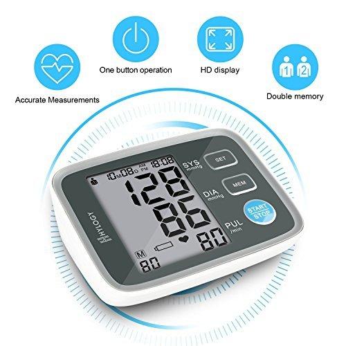 Digitale Blutdruckmessgerät, Hylogy Automatische Oberarm BP Monitor Manschette 8,7 bis 12,6 Zoll, Großbild-Display und 2 Benutzer-Modus 2 * 90 Speicher (schwarz)