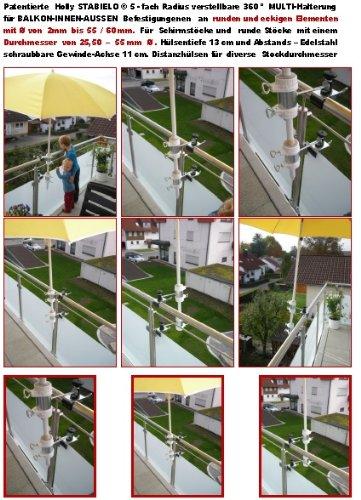 Abat-jour de baguettes avec sCHNELLSPaNNKLAMMER pour piquets de parasol de 25,5 à 37 mm de diamètre de 1 cartons avec support en acier inoxydable mâchoires jusqu'à 40 mm de diamètre pour l'extérieur ou à l'intérieur 11 cm hauteur de fixation de parapluie-holly breveté pour fixation rond ou carré éléments à 40 mm en acier inoxydable-avec support rotatif à 360° avec gUMMISCHUTZKAPPEN pour kratzfreien fixation support pivotant à 360° avec distance prises pour bâtons de l'abat-jour : 25,5 jusqu'à ø 37 mm avec douille profonde d 11 cm 13 cm-distance long bec vIS-axe-innovation fabriqué en allemagne-holly ® produits sTABIELO-holly-sunshade ®-chez sCHIRMEN sur 2,5 cm de diamètre - 2 supports de fixation ou d'- 2 te utiliser, pour des raisons de sécurité (kabelbinder)