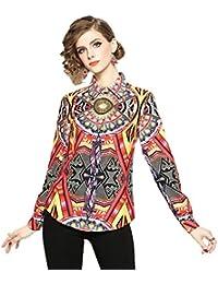 74fb50df0789 xiaoming Camicie da Donna Primavera E Estate Moda Risvolto Manica Lunga con  Stampa Singola Riga E Camicia Sottile Elegante E Comoda…