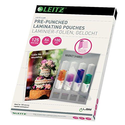 Leitz Heißlaminierfolien, Glänzend, transparent, A4, Mit Abheftlochung (2-und / 4-fach-Lochung), Folienstärke 125 mic, 100er Pack, 33878