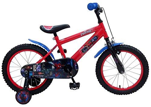 Bicicleta-del-nio-del-16-pulgadas-Spiderman-con-ruedas-4-5-6-aos-rojos