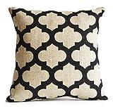 Jute Housse de coussin Treillis Coussin décoratif Motif géométrique noir d'ivoire Toile Jute Rustique moderne decor cadeau anniversaire ou Résidence, Ivory, Black, 40x40 cm