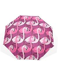 EZIOLY - Paraguas de Viaje Ligero y antirayos UV, diseño de flamencos púrpura, para
