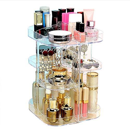 DNNAL Boîte de Rangement cosmétique 360 degrés de Rotation Maquillage Organisateur réglable Multifonctions cosmétique Acrylique Bijoux Bijoux cosmétiques Stockage boîtes d'affichage